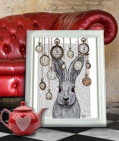 White rabbit print Rabbit Time Rabbit art Rabbit von FabFunky