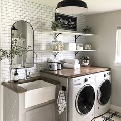 A dream laundry room makeover - We all dream of the perfect projects .- A dream laundry room makeover – We all dream of realizing the perfect home remodeling projects – no matter – - Laundry Room Remodel, Laundry In Bathroom, Laundry Decor, Small Laundry Rooms, Remodel Bathroom, Mudroom Laundry Room, Laundry Room Shelves, Decorate Laundry Rooms, Laundry Room Makeovers