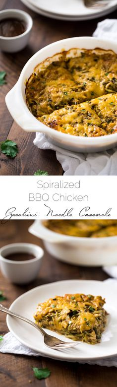 BBQ Chicken Casserole with Zucchini Noodles - low carb, grain free and super healthy with zucchini noodles! It's a protein packed, weeknight meal that the family will love! | Foodfaithfitness.com | @FoodFaithFit