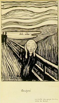 Edvard Munch the Scream white and black painting is shipped worldwide,including stretched canvas and framed art.This Edvard Munch the Scream white and black painting is available at custom size. Edvard Munch, Le Cri Munch, Scream Art, The Scream, Scream Meme, Inspiration Art, Art Institute Of Chicago, Art Graphique, Canvas Prints