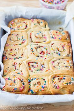 Cake Batter Cinnamon Rolls - ready to be glazed with vanilla icing. No cake mix required!