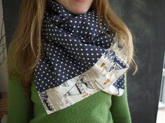 Infinity Snap Scarf // Navy Polka Dot // Grey Cotton by Stitch803, $39.00