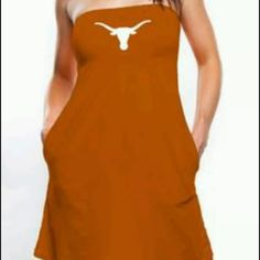 NWT University of Texas burnt orange dress Sz L Cute never worn University of Texas strapless dress with built in bra. Size L. Has side pockets. Bought from Fanatics.com Dresses Strapless