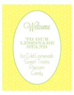 Lemonade Stand Party Printables