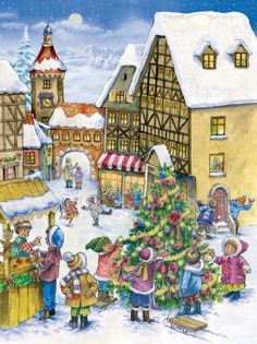 Children Decorating The Christmas Tree German Advent Calendar Germany Countdown Christmas Town, German Christmas, Christmas Villages, Vintage Christmas, Christmas Cards, Holiday, Christmas Markets, Christmas 2014, Advent Calendar Christian