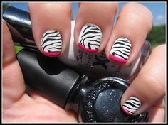 Zebra fauxnad with hot pink french
