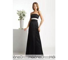 Black Strapless White Band Evening/Bridesmaid Dresses