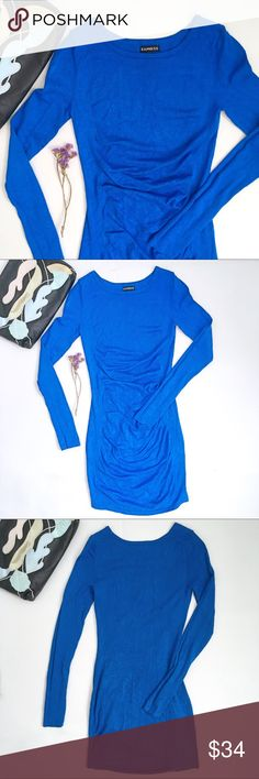 Express Cobalt blue crew neck ruche knit dress NWOT Express cobalt blue crew neck long sleeve knit dress. Bodice has a nice flattering ruche while the dress is fitted to the body. Size extra small. Please see photo for fabric content. Express Dresses Long Sleeve