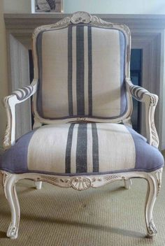 "Idea for my rescued armchair using Stripe French style strip fabric and whit paint (hint to self: make white paint on chair a bit ""chippy"""