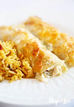Creamy Chicken Enchiladas | Skip To My Lou