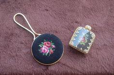 Vintage Antique Czech Hand Mirror & Perfume Bottle Set - Petit Point! Rare Set!
