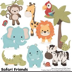 Cute Vintage Jungle Animal Clipart  Cute Safari by AmandaIlkov