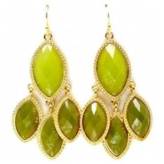 Mava's Chunky Green Marquise Stone Chandelier Earrings ($25) ❤ liked on Polyvore