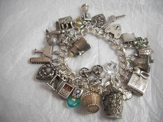 Vintage & Antique ALL RARE Sterling Charm Bracelet WOW!! in Jewelry & Watches, Vintage & Antique Jewelry, Fine, Charms & Charm Bracelets   eBay