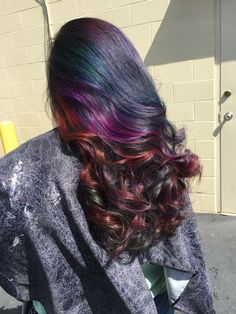 Oil slick hair color my stylist did for me today. I'm in love with it.