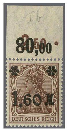 German Empire, 1905 Germania with watermark. 1. 60 M on 5 Pf. dark brown, mint never hinged upper margin copy, perforated Oechsner. Michel 450.-. Katalog-no. 154Ib P upper margin appraisal 100.- till 120.-  Dealer Rapp Auctions  Auction Minimum Bid: 100.00SFr