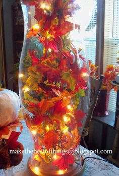 Make The Best of Things: Lighted Autumn Hurricane. // ♡ SO SIMPLE TO CHANGE OUT FOR DIFFERENT HOLIDAYS! ♥A