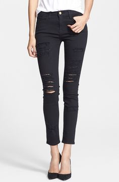Customer favorite: Frame Denim distressed skinny jeans. These jeans are soft, comfortable, trendy and don't dig in at the waist. Slightly high-waisted and the perfect amount of stretch! Love them - They fit like a glove!