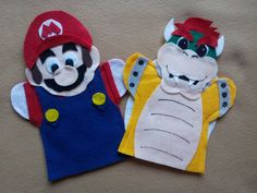 Super Mario and Bowser felt hand Puppets by puppetmaker on Etsy, $9.99...(could totally DIY this)