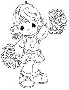 Precious Moments Cheerleader Coloring Page Angel Coloring Pages, Colouring Pages, Printable Coloring Pages, Adult Coloring Pages, Coloring Sheets, Coloring Books, Coloring Tips, Football Coloring Pages, Precious Moments Coloring Pages