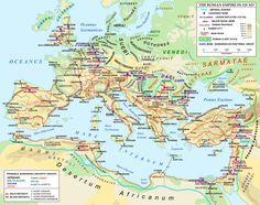 A map of the Roman Empire and Europe in 125 CE, at the time of Roman emperor Hadrian.