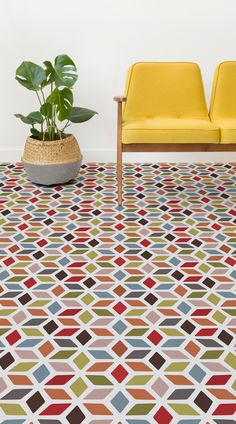 Cindy is a Colourful Retro Vinyl Flooring design that features a colourful geometric pattern in a stain-glass window style, with a sophisticated yet playful multicolour palette. This retro design is available in Multicolour and Yellow, or our in-house designers can customise the Cindy design using your own colour choices, to ensure your flooring matches the colour scheme of your interiors. #vinyl #flooring #inspiration #design #decor #homedecor #interior #interiordesign…