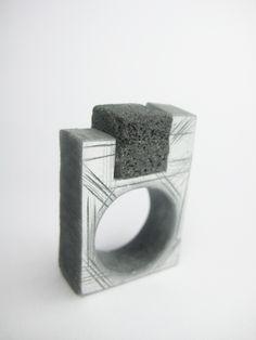 Claudia Costa - Ring - Resin, lava stone. 2012