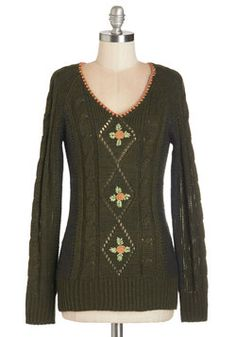 Treasure to Uphold Sweater. Your stylish reputation is a delight to maintain when it includes pieces like this olive-green sweater from Nick  Mo! #green #modcloth