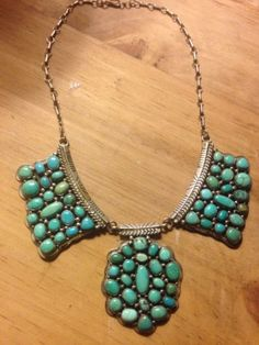 NAVAJO Turquoise Cluster Necklace, Native American Huge Stunning Showpiece