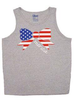Ladies American Flag Bow Tank Top