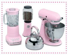 love these pink appliances! Kitchen aid love