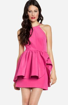 Pink Ruffled Dress.  women's fashion and style.  pink peplum dress.