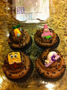 I made spongebob cupcake toppers for my friend's birthday!