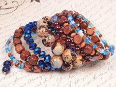 Blue Brown Bead Cuff Denim Blue Bracelet Wood by ChristalDreamz #JOD #JewelryOnEtsy
