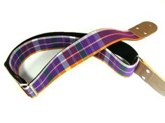 All Handmade Isaan Style Pakaoma Cotton Colorful Yellow Purple Tartan Pattern Guitar Strap