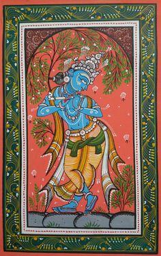 Krishna Playing Flute - Colorful Odisha Pattachitra on handmade canvas with natu. - Krishna Playing Flute – Colorful Odisha Pattachitra on handmade canvas with natural colors - Black Canvas Paintings, Indian Art Paintings, Watercolor Paintings Abstract, Moon Painting, Painting Tips, Madhubani Art, Madhubani Painting, Krishna Painting, Krishna Art