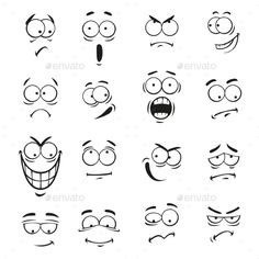 Human cartoon emoticon faces with expressions Vector cute eyes elements smiling happy upset surprised skeptical sad angry mad stupid crying shocked comic silly scared cla. Cartoon Faces Expressions, Cartoon Expression, Doodle Drawings, Cartoon Drawings, Easy Drawings, Silly Faces, Funny Faces, Art And Illustration, Simple Face Drawing
