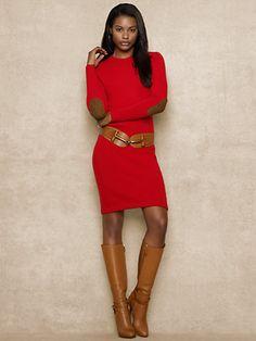Suede-Patch Dress - Short Dresses  Dresses - RalphLauren.com