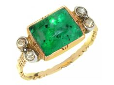 FINE ART SALE 18/09/19- Lot 16A GEORGIAN EMERALD AND ROSE CUT DIAMOND RING, 18TH C the foiled, domed rectangular emerald approx 0.8 x 0.9cm, chased gold hoop, 3.7g, size J Estimate: £1500 - 2000