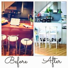 Boring kitchen turned into now modern vintage kitchen. #furniture #conversion #kitchen #makeover #ikea#beforafter