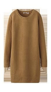 A sweater dress is a holiday party wardrobe staple! Pair with some high boots or some funky tights! #fashion #UNIQLO