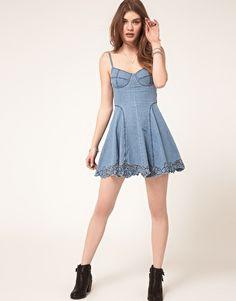 ASOS Cutwork Strappy Denim Dress