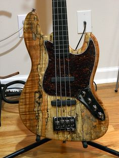 I love spalted maple but how about spalted mango? It looks a bit like spalted maple, but I like. Bass Ukulele, Music Guitar, Cool Guitar, Bass Guitars, Custom Bass Guitar, Custom Guitars, Vintage Guitars, Vintage Bass, Fender Jazz Bass