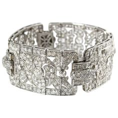1920s French Art Deco Diamond Platinum Bracelet | From a unique collection of vintage link bracelets at https://www.1stdibs.com/jewelry/bracelets/link-bracelets/