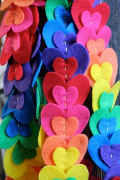 String of Hearts Garland rainbow by BeeLoveLee on Etsy, $16.00
