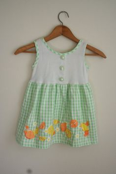 Vintage Green & White Gingham fruit Dress with Flower by vintapod, $13.00