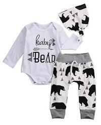 ( Baby Bear ) 3 Piece Set. Onesie/Romper Pants and Hat
