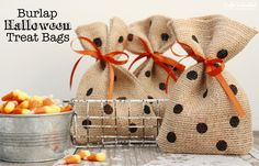 Burlap and Polka Dot Halloween Treat Bags - craftsunleashed.com