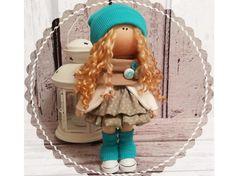 Home doll doll Tilda doll Art doll handmade green brown colors Rag doll Soft…