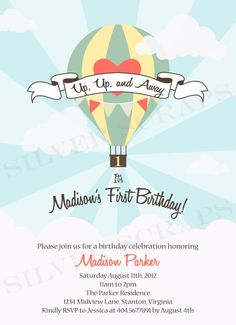 Up, Up, and Away -Custom Digital Hot Air Balloon Birthday Invitation -Girl, Boy - Red, Pink, Blue, Aqua, Teal, Yellow -3 Printable Designs. $15.00, via Etsy.